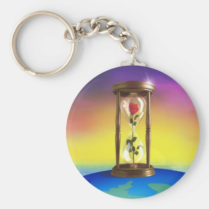 Rose In Hourglass Keychain