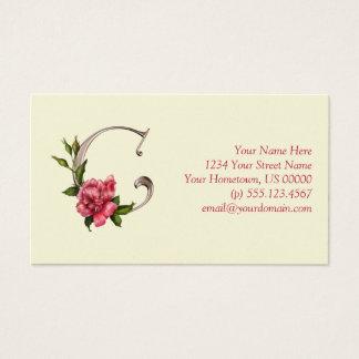 Rose Initial C Pearlized Monogram Business Card