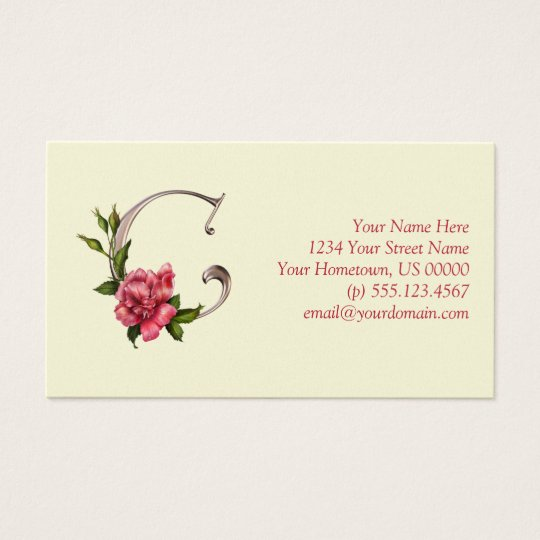 Rose Initial C Pearlized Monogram Business Card