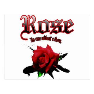 rose & ink brush postcard