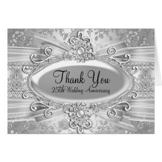 Rose & Jewel Silver 25th Anniversary Thank You Card