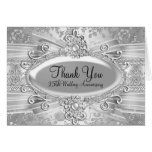 Rose & Jewel Silver 25th Anniversary Thank You Stationery Note Card