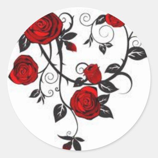 Rose.jpg rojo pegatina redonda