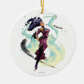 Rose Jump Double-Sided Ceramic Round Christmas Ornament