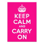 Rose Keep Calm and Carry On 5.5x7.5 Paper Invitation Card
