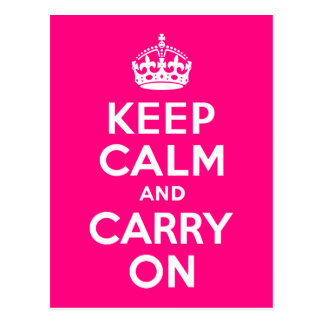 Rose Keep Calm and Carry On Postcard