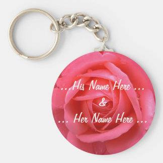 Rose Key Chains Custom Pink Red Flower Gifts