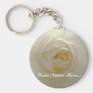 Rose Key Chains Custom White Flower Gifts