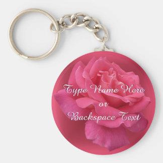 Rose Key Chains Peprsonalized Pink Rose Keychain