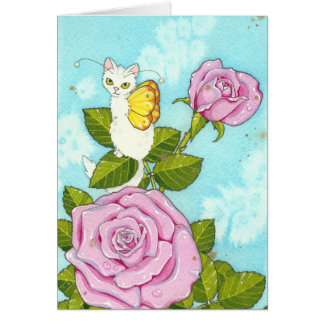 Rose kitty fairy notecard cards