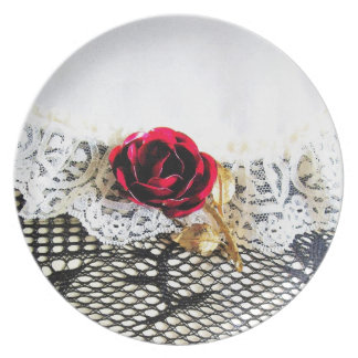 Rose, lace and fishnet stocking dinner plate