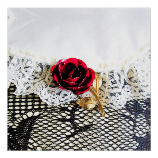 Rose, lace and fishnet stocking print