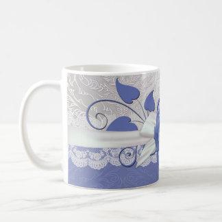 Rose Lace Silver/Blue Damask Mug