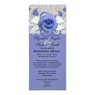 Rose Lace Silver/Blue Damask Wedding Menu Card