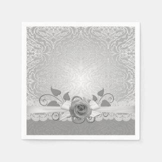 Rose Lace Silver Damask Napkins