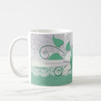 Rose Lace Silver/Green Damask Mug