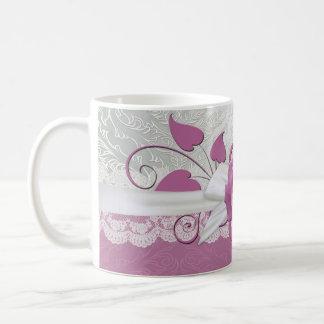 Rose Lace Silver/Pink Damask Mug
