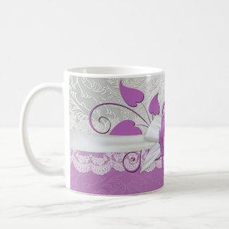 Rose Lace Silver/Purple Damask Mug