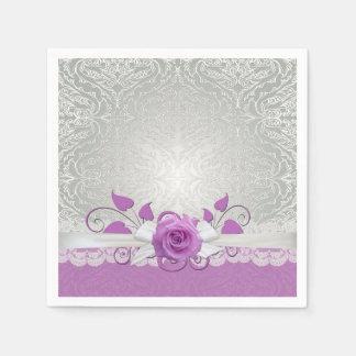 Rose Lace Silver/Purple Damask Napkins