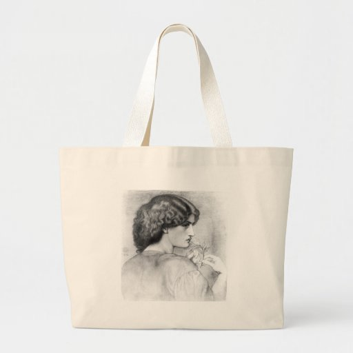 Rose Leaf Lady Drawing Canvas Bags