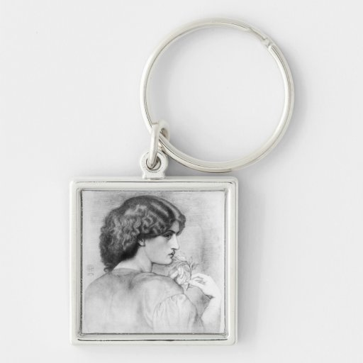 Rose Leaf Lady Drawing Keychain