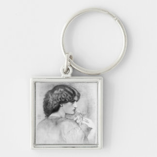 Rose Leaf Lady Drawing Silver-Colored Square Keychain