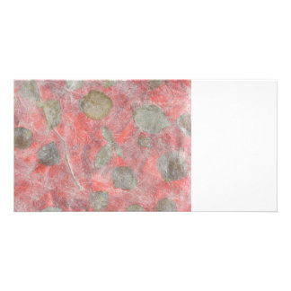 Rose leaves design in red tissue paper photo cards