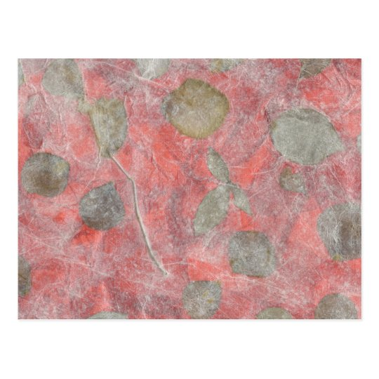 Rose leaves design in red tissue paper postcard