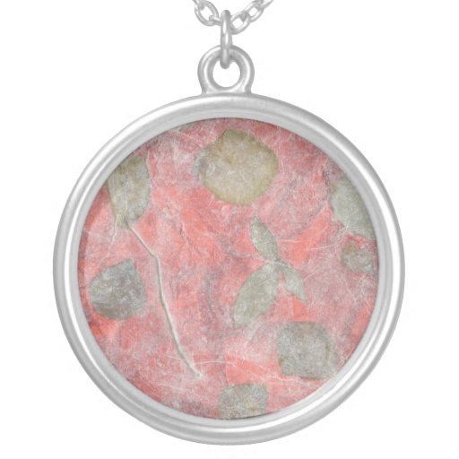 Rose leaves design in red tissue paper round pendant necklace