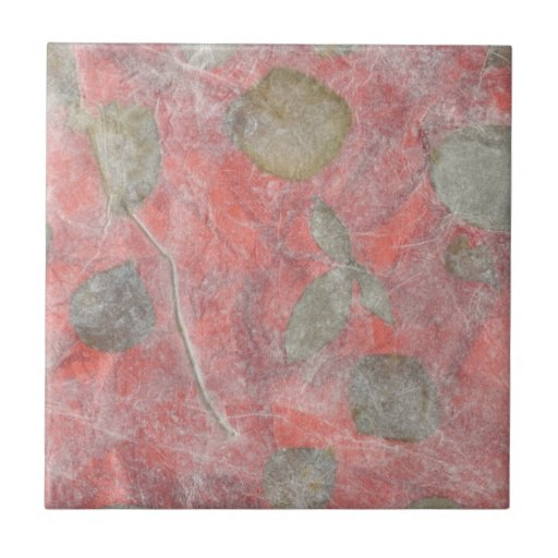 Rose leaves design in red tissue paper small square tile
