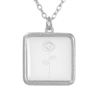 Rose Line Drawing Art Silver Plated Necklace