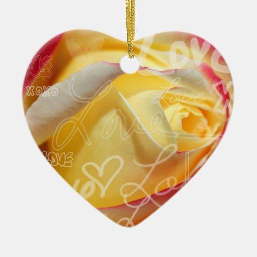 Rose Love Pendant Double-Sided Heart Ceramic Christmas Ornament