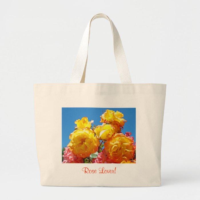Rose Lover! Yellow Orange Rose Flower Garden Totes