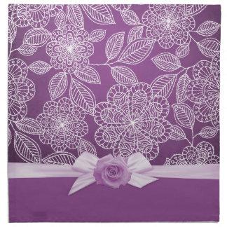 Rose Luxury Lavender Floral Damask Napkins