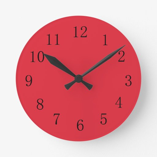 Rose Madder Red Kitchen Wall Clock