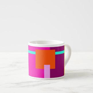 Rose Magenta Squares 6 Oz Ceramic Espresso Cup