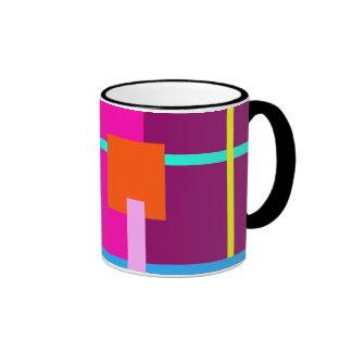 Rose Magenta Squares Ringer Coffee Mug