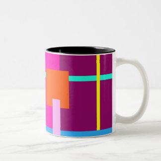 Rose Magenta Squares Two-Tone Coffee Mug