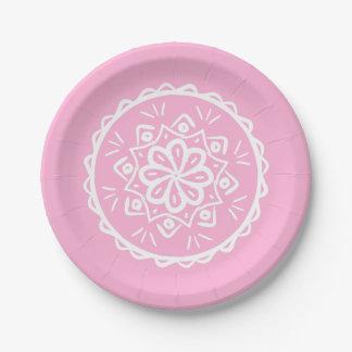 Rose Mandala Paper Plate