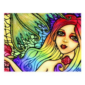 Rose Mermaid Pretty Rainbow Girl Postcard