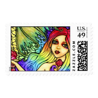 Rose Mermaid Pretty Rainbow Stamps
