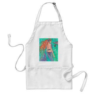 "Rose Mermaid ""The Gift"" Dolphin Fantasy Art! Adult Apron"