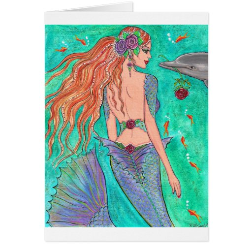 "Rose Mermaid ""The Gift"" Dolphin Fantasy Art! Greeting Cards"