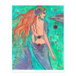 """Rose Mermaid """"The Gift"""" Dolphin Fantasy Art! Post Cards"""