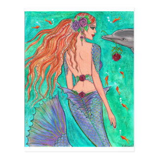 "Rose Mermaid ""The Gift"" Dolphin Fantasy Art! Postcard"