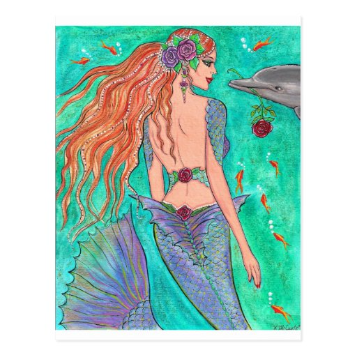 "Rose Mermaid ""The Gift"" Dolphin Fantasy Art! Post Cards"