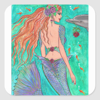 "Rose Mermaid ""The Gift"" Dolphin Fantasy Art! Square Sticker"