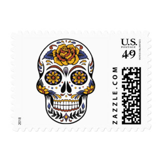 Rose Mexican Sugar Skull Day of the Dead Postage