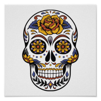 Rose Mexican Sugar Skull Day of the Dead Poster
