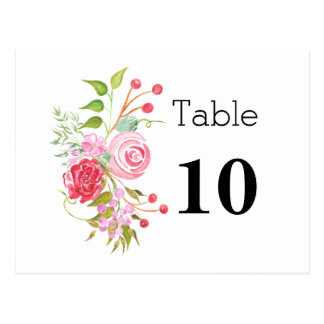 Rose mix floral table number postcard